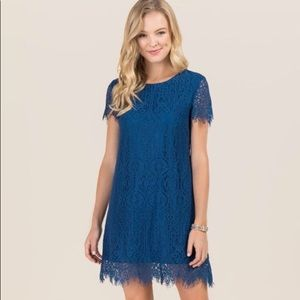 SCALLOPED LACE SHIFT DRESS Navy